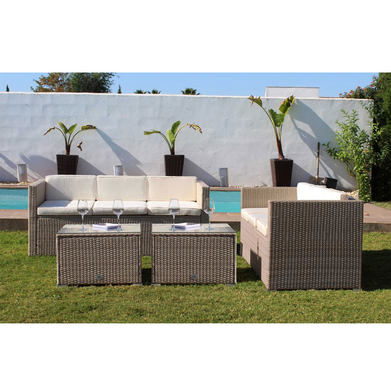 KieferGarden. Shipping from Spain. Material Rattan  Crystal  Steel. Conjunto de sofas The Angeles 6. Furniture outside.|Garden Sofas| |  - title=