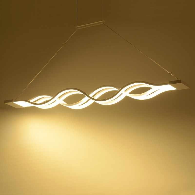 Современный волновой дизайн, люстры, светодиодный подвесной светильник для столовой, черно-белый подвесной светильник, подвесной светильник, потолочный светодиодный светильник