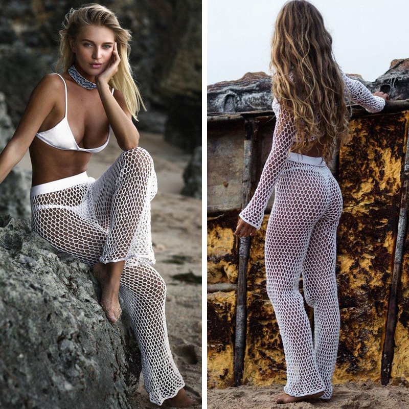 H80&S90 New 2019 Women Hot Sexy Handmade Crochet Fishnet Pants Ladies' Knitted Hollow Out Trousers Female Beach Flare Pant