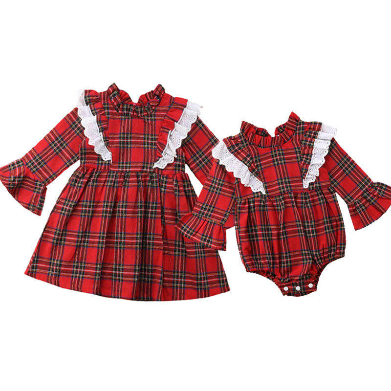 Christmas Newborn Baby Kids Girls Clothing Red Plaid Little Sister Romper Big Sister Dress Xmas Costumes  Autumn New