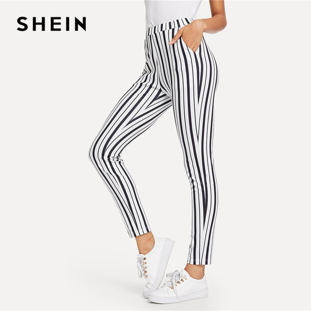 463e2adcf0d7 SHEIN Black and White Slant Pocket Striped Crop Pants Casual Elastic Waist  Tapered Carrot Trousers Women Autumn OL Work Pants