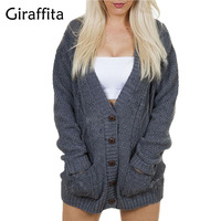 Giraffita Cardigan 2017 Open Stitch Women Sweater Slim Lady Autumn Winter Long Knitted Cardigans Tops Brand