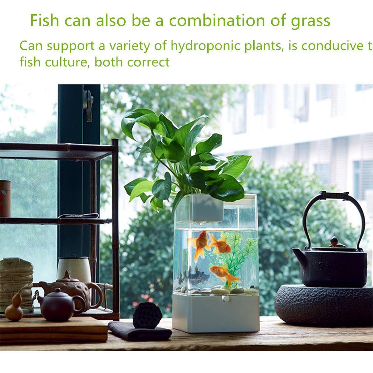 Fish Tank USB Interface Aquarium Integration Ecological Office Desk  Goldfish Filter LED Light System 14.4X14.4X25.7cm In Terrariums From Home U0026  Garden On ...