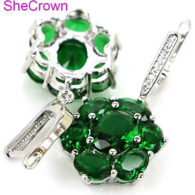 Elegante verde peridot natural branco cz presente para meninas brincos de prata 38x17mm