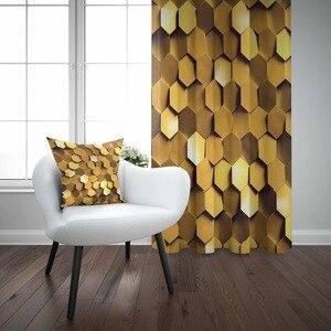 Innego złoty żółty z łbem sześciokątnym geometryczne abstrakcyjne Reto 3D druku pokój dzienny sypialnia panel okienny kurtyny łączą w sobie prezent poszewka na poduszkę