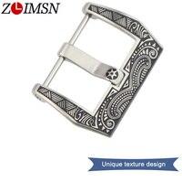 ZLIMSN Mens Watchbands Belt Metal Stainless Steel Buckle Strong Silver Solid Watch Clasp Black Strap 22mm