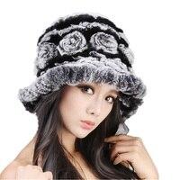 Dames tricoté floral chapeau de fourrure automne hiver chapeau avec naturel rex lapin, gris noir rouge brun à la main H566
