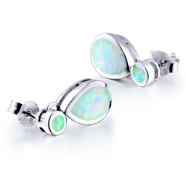 DORMITH real 925 sterling silver earrings  created white red fire water drop opal drop earring  for women jewelry