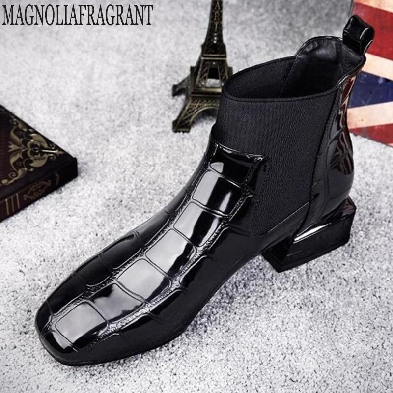 Cabeza Charol Grueso 2019 Short Nueva C352 Plush Zapatos black Single Martin Impermeable Moda Cuadrada Fondo Botines Caliente Black Botas Mujeres r8x8vdnwXq