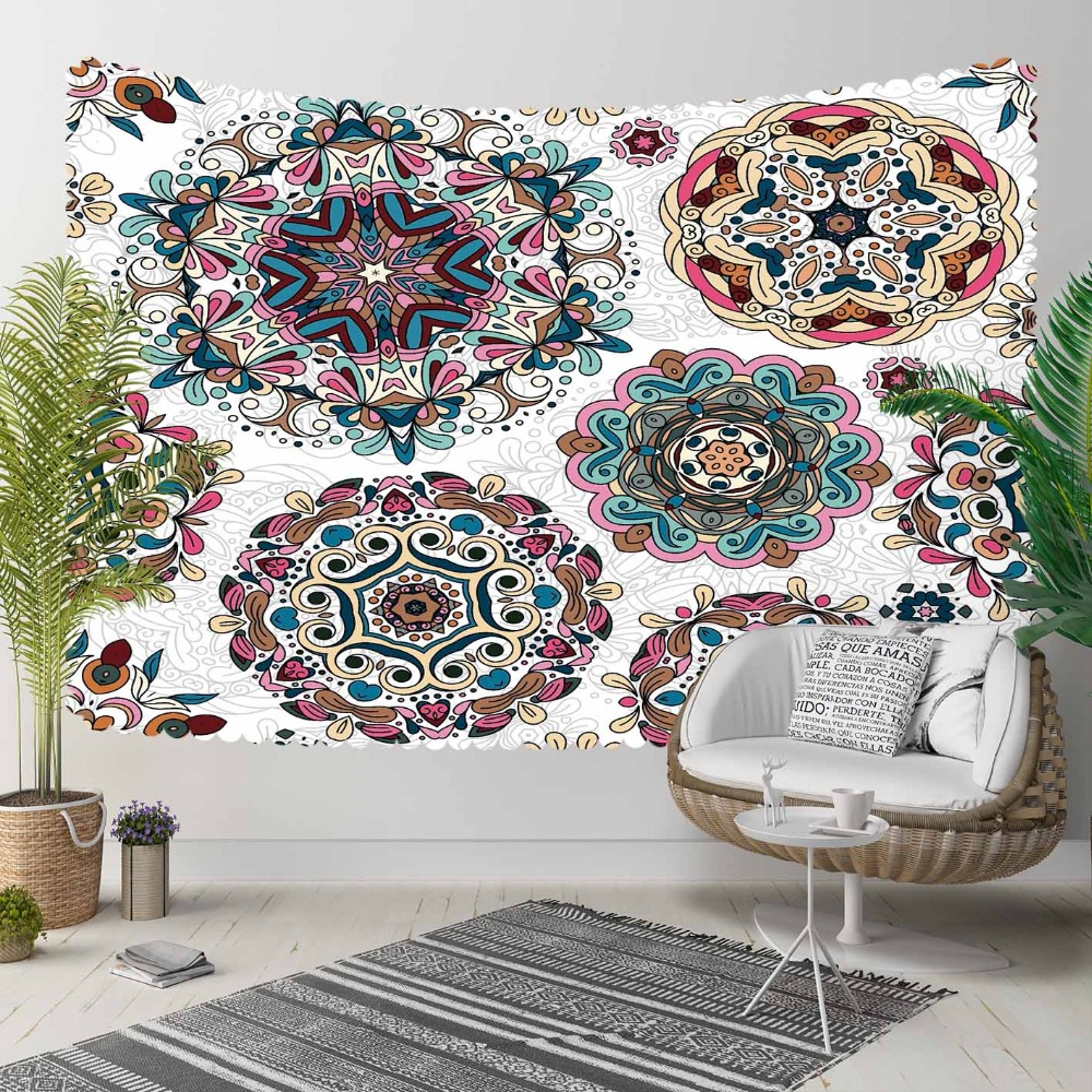 Else Round Geometric Pink Blue Green Mandala Design 3D Print Decorative Hippi Bohemian Wall Hanging Landscape Tapestry Wall Art