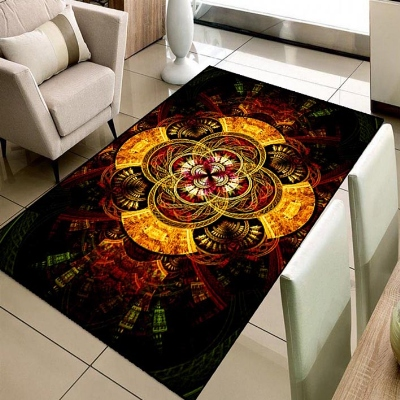 Else Abstract Green Red Yellow Space Stars 3d Print Non Slip Microfiber Living Room Decorative Modern Washable Area Rug Mat