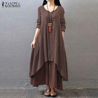 Vestido 2017 ZANZEA Women Buttons V Neck Casual Loose Long Maxi Dress Vintage Double Layers Asymmetrical
