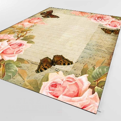 Else Vintage Pink Rose Frames Retro Notes Write 3d Print Non Slip Microfiber Living Room Decorative Modern Washable Area Rug Mat