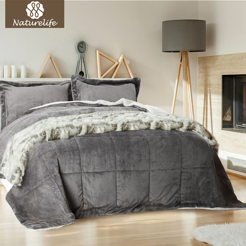 Naturelife Warm Sherpa Comforter Set Luxury Comfort
