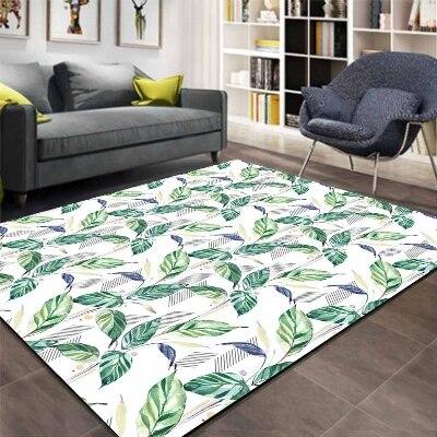 Else Navy Blue Green Leaves White Floor Floral 3d Print Non Slip Microfiber Living Room Decorative Modern Washable Area Rug Mat