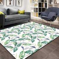 Sonst Navy Blau Grün Blätter Weiß Boden Floral 3d Print Non Slip Mikrofaser Wohnzimmer Dekorative Moderne Waschbar Bereich Teppich matte