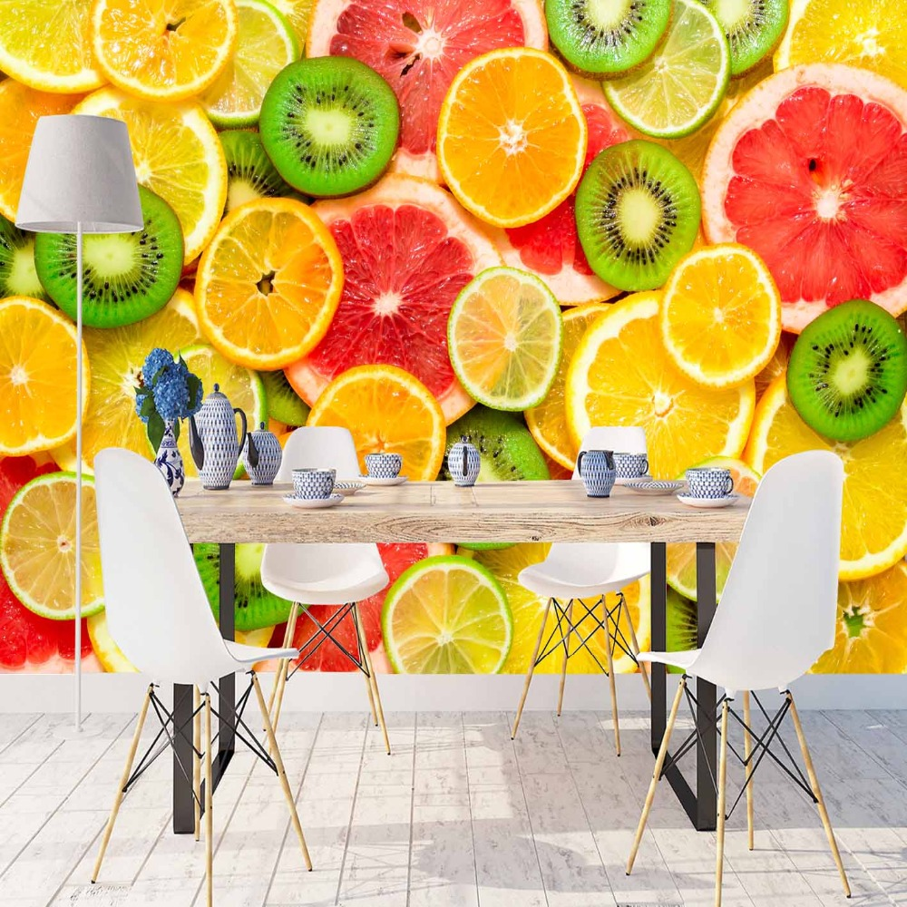 Else Green Kiwi Yellow Red Slice Of Orange Fruits 3d Print Photo Cleanable Fabric Mural Home Decor Kitchen Background Wallpaper