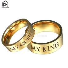 Stainless Steel My King Queen Letter Rings for Men Women Fashion Jewelry Gold Color Couples Weding Lovers Gifts Bijoux