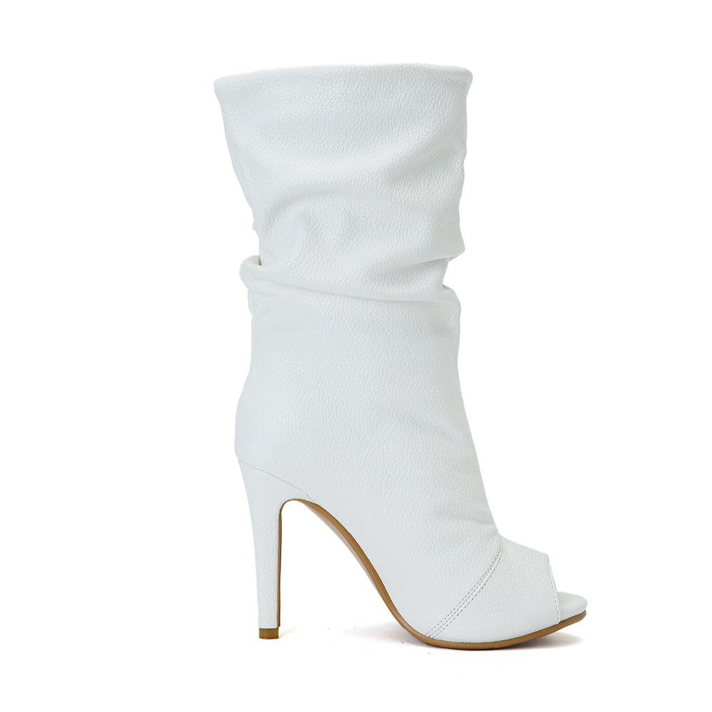 Taille Dames Femmes Blanc Yifsion White Talons Chaussures D'été 4 Bottes Nouvelle 15 Haute Charme Arrivée Nous Toe Mince D0234 Peep Casual Élégant Sg1zxTEgwq