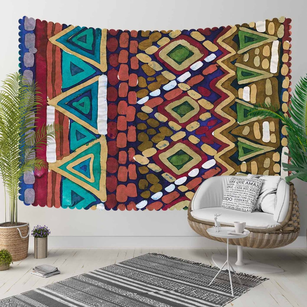 Else Green Triangles Yellow Brown Purple Geometric 3D Print Decorative Hippi Bohemian Wall Hanging Landscape Tapestry Wall Art