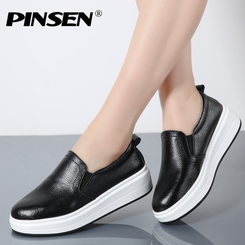 PINSEN 2017 New Winter Moccasin Womens Flats Shoes Genuine leather Lady Loafers Slip On Platform Woman Moccasins Slipony pinsen 2017 women genuine leather winter flats shoes slip on women flats comfort loafers shoes woman moccasins fashion fur shoes