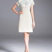 Формальное лоскутное Сетчатое женское платье с вышивкой с o-образным вырезом платья-футляр