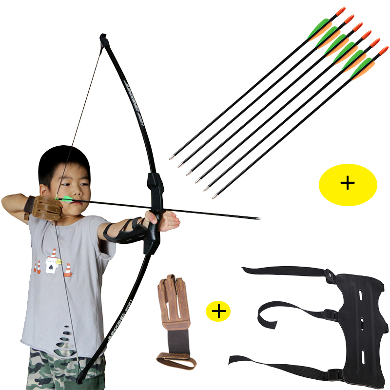 Archery 15lbs Bow Set 6pcs Arrows Finger Guard Arm Protector Children Shooting Game Take down Staight