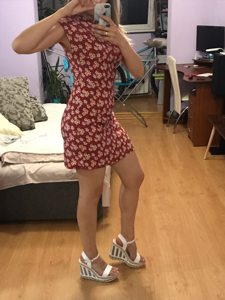 Stand Collar Zip Back Ditsy Floral Fit And Flare Short Slim Dress Women Elegant Summer Short Sleeve Dresses photo review