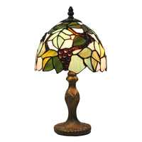 Stained Glass องุ่นกับใบแบบดั้งเดิมตารางโคมไฟข้างเตียงโคมไฟตั้งโต๊ะในร่มโคมไฟ