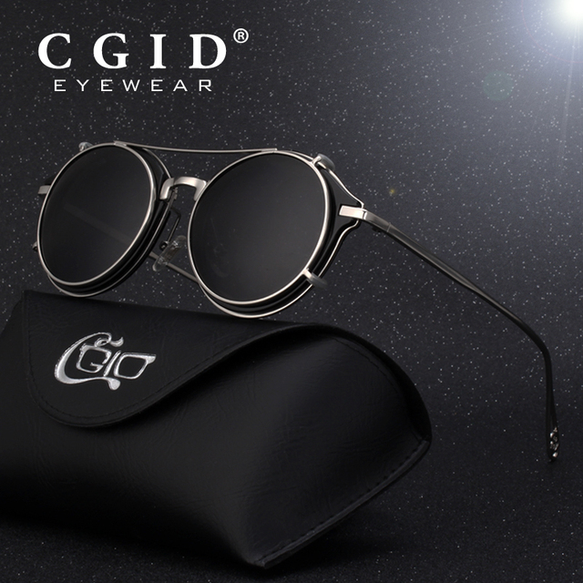 87baa8aa1fc CGID 2018 Fashion Men Polarized Sunglasses Round Steampunk Removable Clip  On Shades Brand Designer Sun Glass
