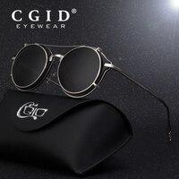 CGID 2018 Fashion Men Polarized Sunglasses Round Steampunk Removable Clip On Shades Brand Designer Sun Glass Vintage Metal E76