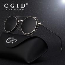 CGID 2019 แฟชั่นผู้ชาย Polarized แว่นตากันแดดรอบ Steampunk คลิปถอดได้ Shades ออกแบบแบรนด์ Sun Glass Vintage โลหะ E76