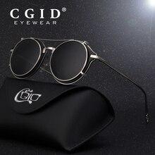 CGID 2019 moda okulary męskie polaryzacyjne okrągłe Steampunk wymienny klip na odcienie marka projektant okulary przeciwsłoneczne Vintage Metal E76