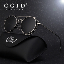 Cgid 2019 패션 남자 편광 된 선글라스 라운드 steampunk 이동식 클립 음영 브랜드 디자이너 태양 유리 빈티지 금속 e76