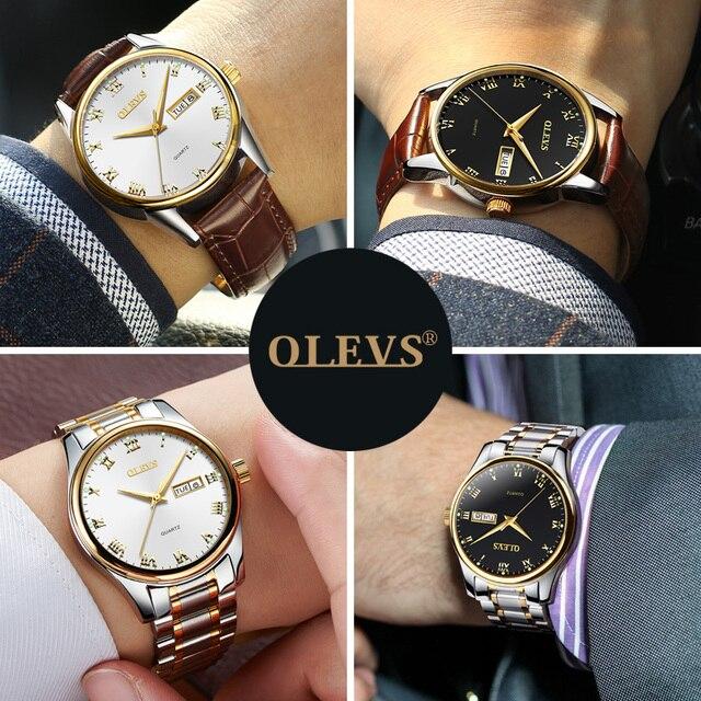 OLEVS Men's Water Resistant Stainless Steel Date Clock Quartz Watches 4
