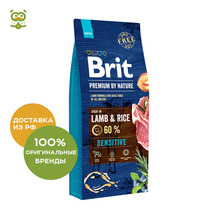 Корм Brit Premium by Nature Sensitive сухой корм для собак с чувствительным пищеварением, Ягненок и рис, 15 кг