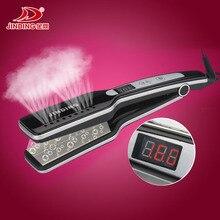 Tourmaline Ceramic Heating Plate Personalized steam Hair Flat Iron Vapor Wet Professional Steampod Straightener
