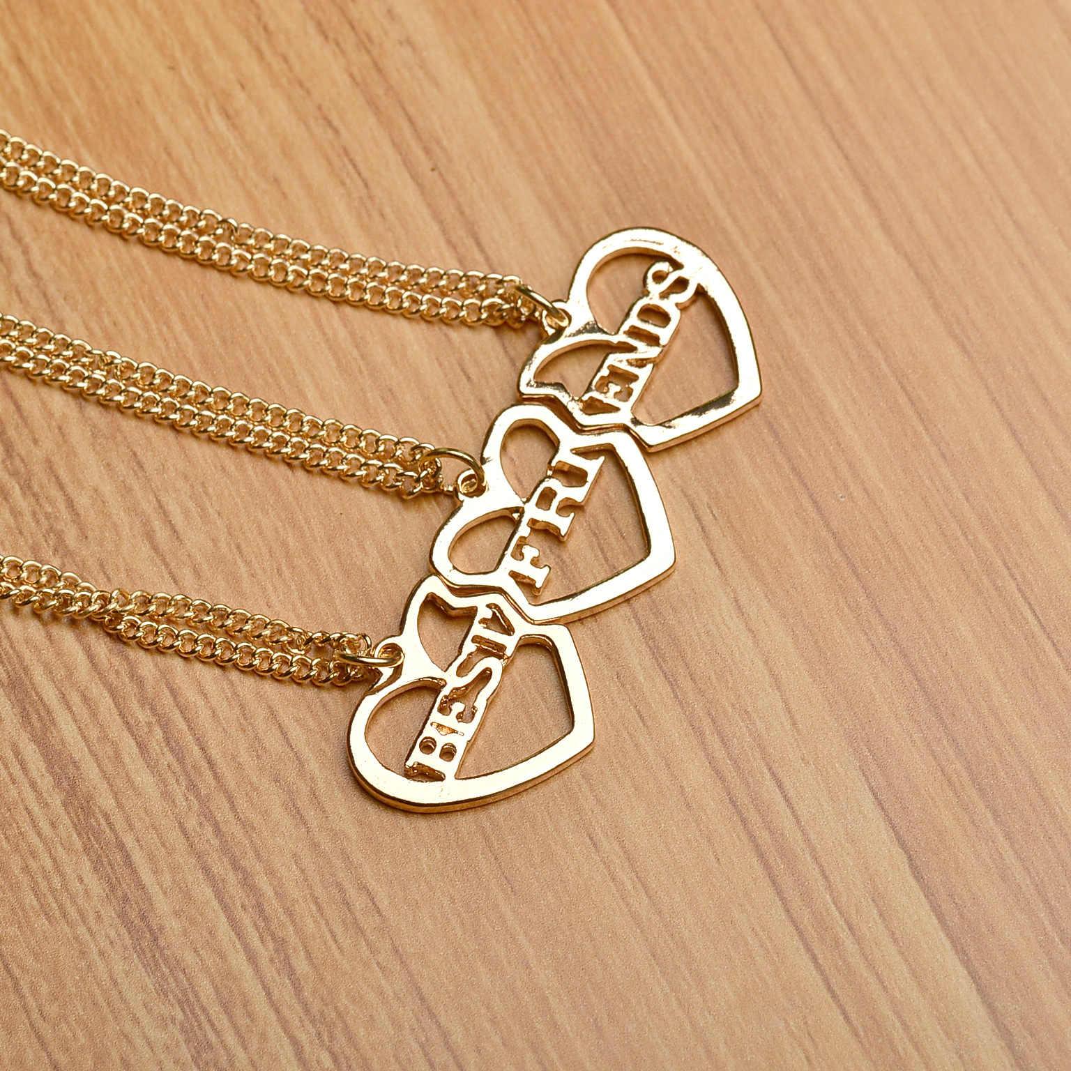Lureme الذهب زرع القلب 3 أجزاء أفضل أصدقاء للأبد BFF قلادة قلادة قلادة للنساء فتاة شحن مجاني (nl004222)
