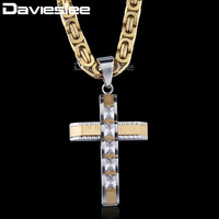 Крест кулон ожерелья для мужчин из нержавеющей стали Византийская цепь Золото Серебро Черный Мужчин s ожерелья подвеска чешские камни DLKPM86