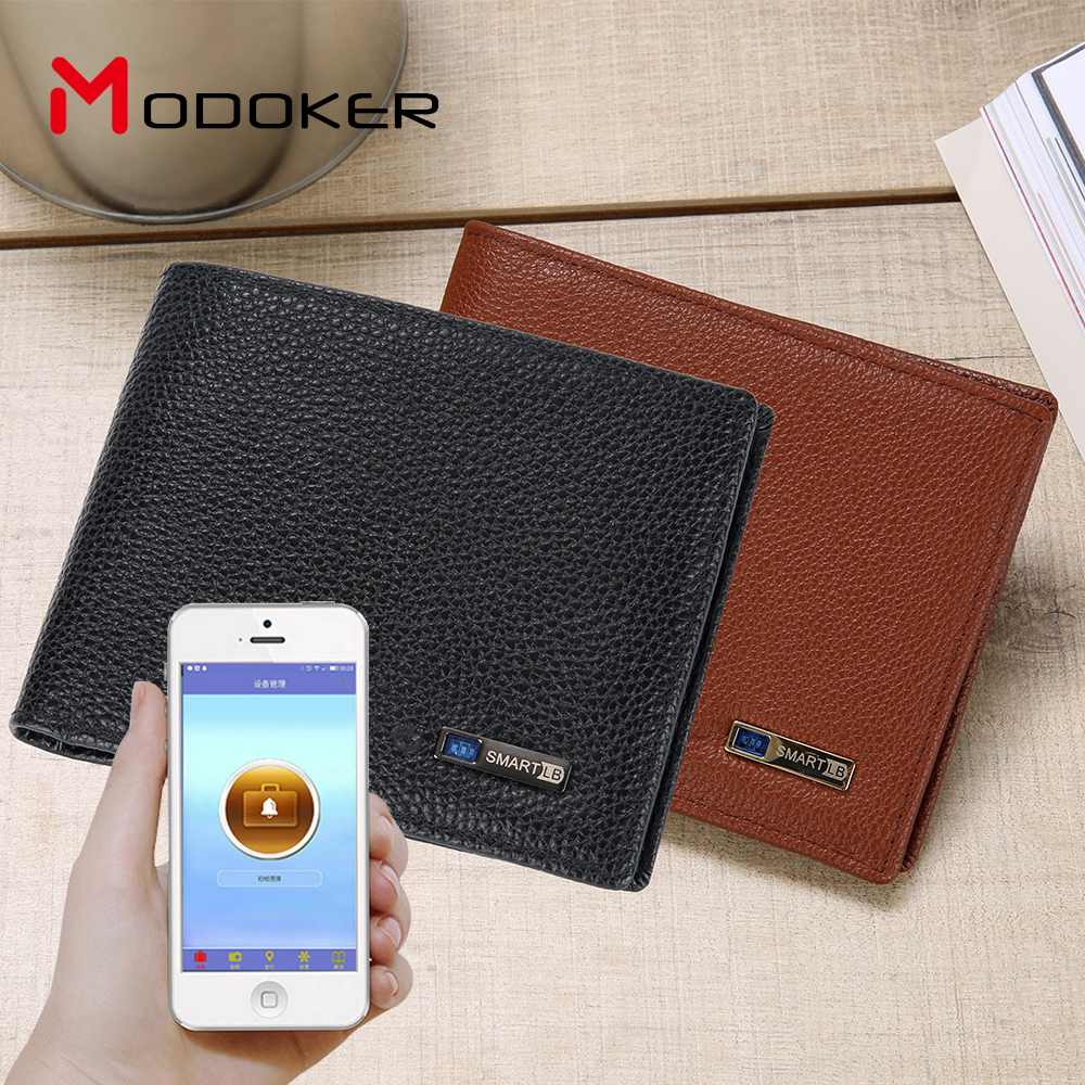 Modoker Smart Genuine Cowhide Purse with Bluetooth Tracking Anti-lost Stylish Men Wallet anti lost smart bluetooth 4 0 wallet for men women