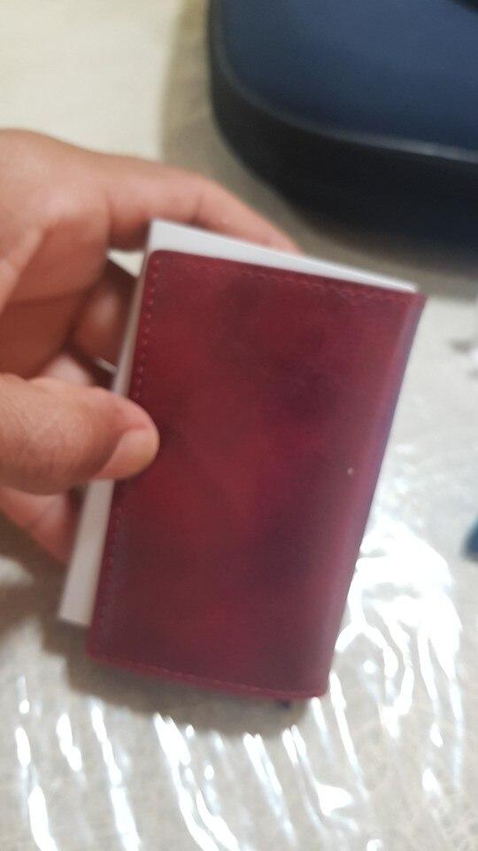 BISI GORO Anti-diefstal Heren Vintage Creditcardhouder Blokkering Rfid Portemonnee Leer Unisex Beveiligingsinformatie Aluminium Metalen Portemonnee photo review