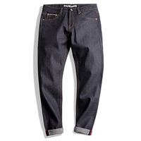 Maden 14.5OZ Men Raw Denim Jeans Embroidery Slim Straight Safari Style Jeans Retro Nostalgia Fashion Solid Colors Long Trousers