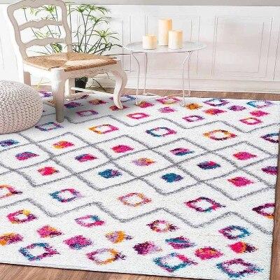 Else Geometric Tiles Lines Colored Aztec Ethnic 3d Print Non Slip Microfiber Living Room Decorative Modern Washable Area Rug Mat