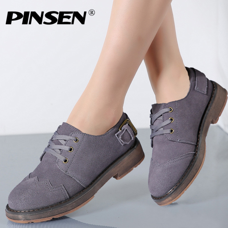 PINSEN 2017 Autumn Fashion High Quality Women Oxfords Casual Flats Shoes Soft Leather Lace up Female Black Brogue Shoes Woman vintage embroidery women flats chinese floral canvas embroidered shoes national old beijing cloth single dance soft flats