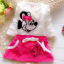 New trend splicing summer Minnie Princess Beauty Princess Dress Girl Dress Suit for baby's round collar 100% pure cotton(China)