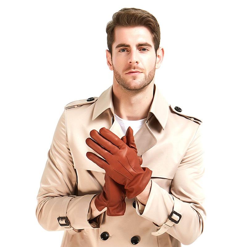 3 Harssidanzar Mens Luxury Italian Sheepskin Leather Gloves Wool Lined Brandy color