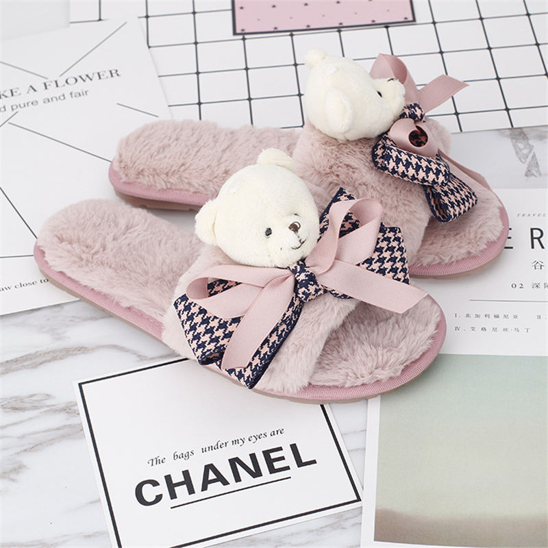 Shoes Women Winter Home Slippers Plush Exposed Toe Bear Slippers Indoor Faux Fur Non-Slip Soft Cartoon Bedroom Female Flat Shoes plush home slippers women winter indoor shoes couple slippers men waterproof home interior non slip warmth month pu leather