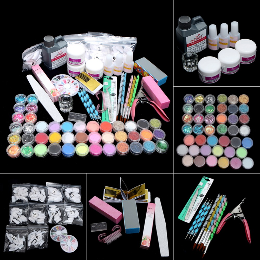 цена на Full Set 42pcs Glitter Powder Manicure Nail Kit 3D Design Acrylic Powder Gel Polish Nail Tips Gems Decoration DIY Nail Art