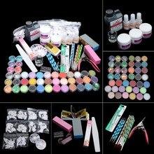 Full Set 42pcs Glitter Powder Manicure Nail Kit 3D Design Acrylic Powder Gel Polish Nail Tips Gems Decoration DIY Nail Art