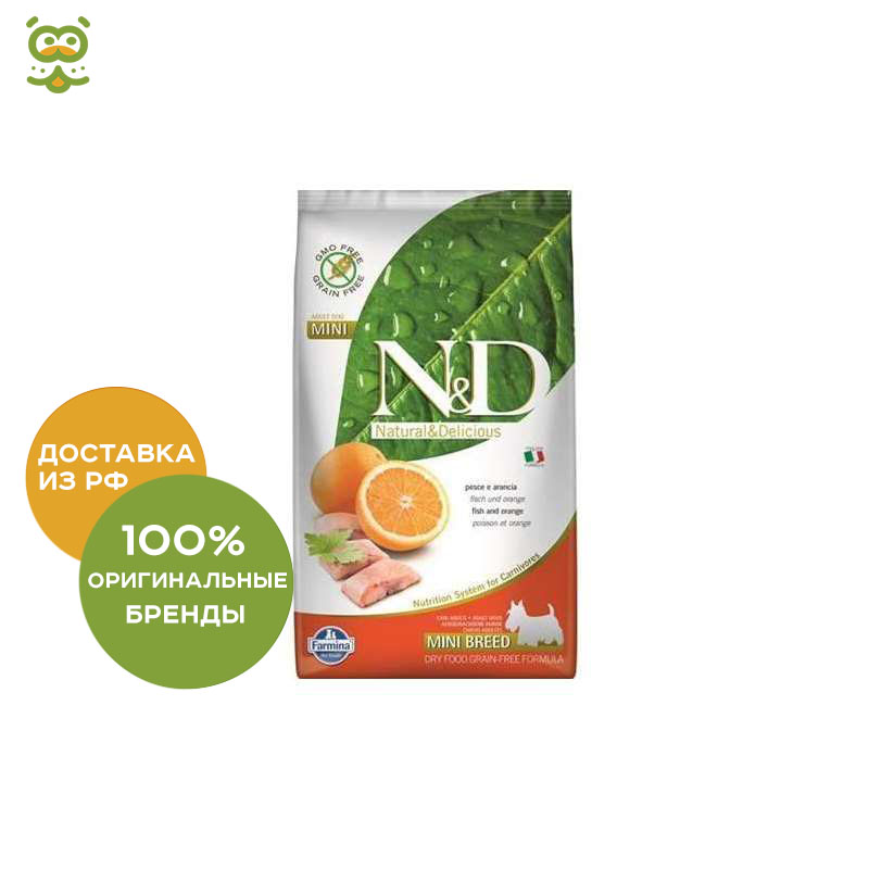 N&D Dog Fish & Orange Adult Mini food for adult dogs of small breeds, Fish and orange, 2.5 kg. шапка fish n destroy